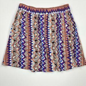 Forever 21 Tribal Boho Flowy Skater Skirt  Size M